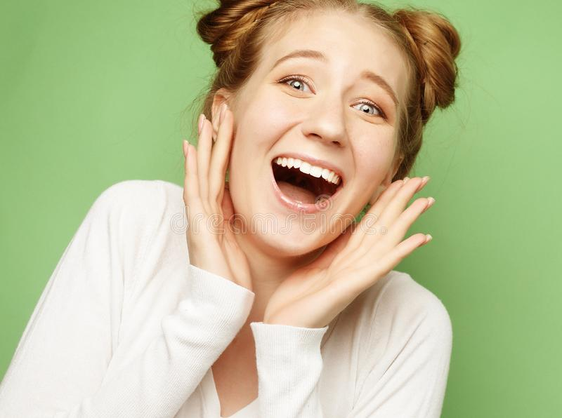 Lifestyle and people concept: Surprised young woman stock photos