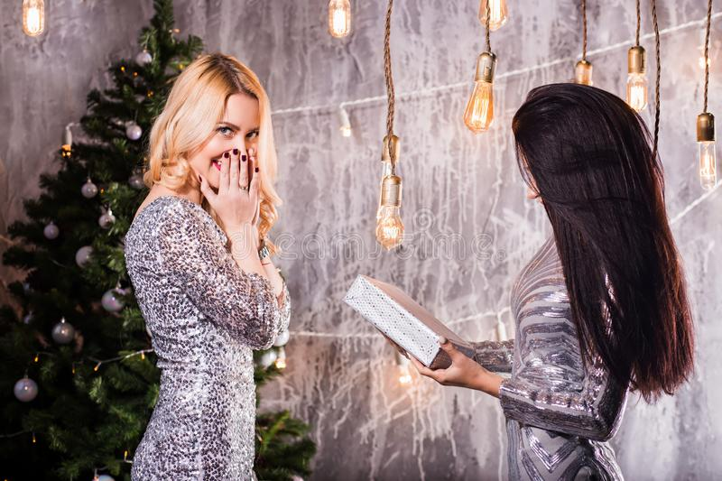 Surprised young woman in anticipation Christmas gift, two friends, brunette and blonde women. Surprised young women in anticipation Christmas gift, two friends royalty free stock photos