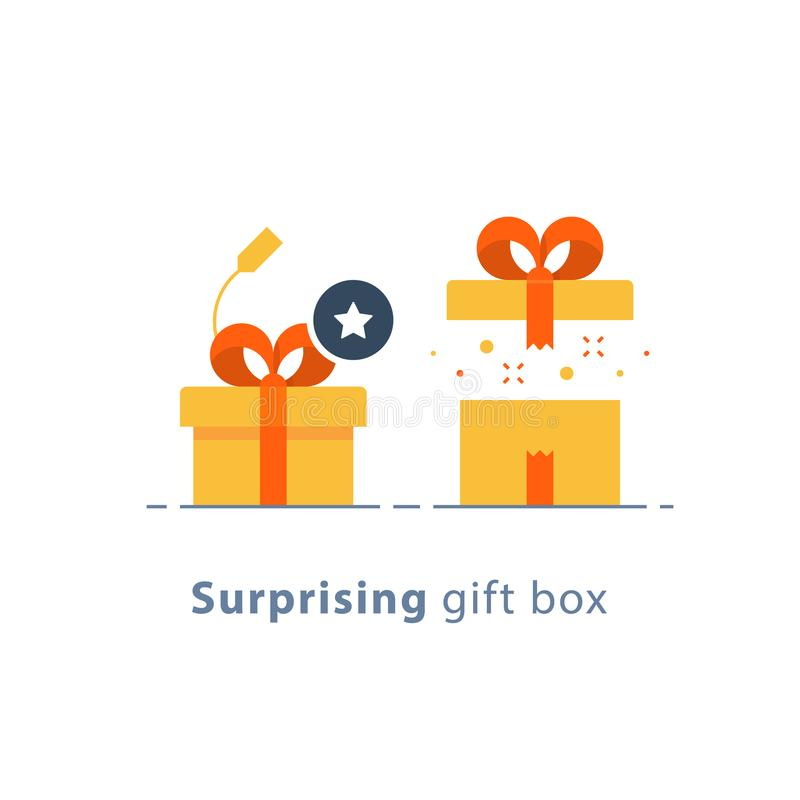 Prize give away, surprising gift, creative present, fun experience, gift idea concept, flat icon stock illustration