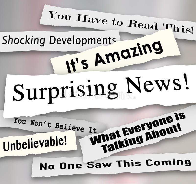 Surprising News Shocking Unbelievable Headlines Ripped Torn News. Surprising News headlines torn or ripped from newspapers reporting shocking gossip or vector illustration