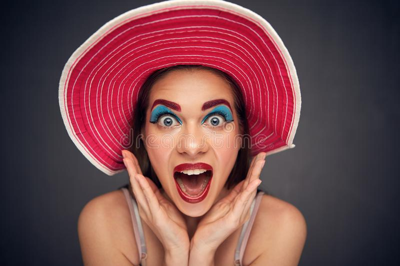 Surprising woman isolated wide angle portrait. royalty free stock images