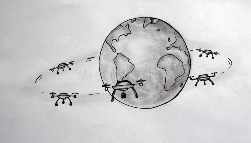 Surr är jordsatelliterna stock illustrationer