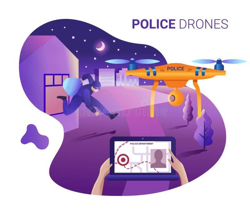 Surr eller quadcopter för polisen Vektorillustration av att landa sidamallen Surra flugan över staden och gör ID av vektor illustrationer