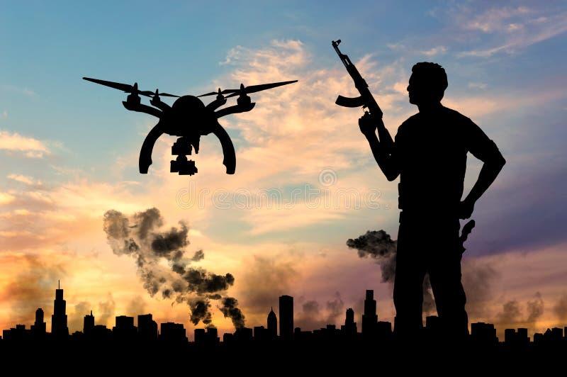 Surr för konturflygspaningar över stad i en rök och en terrorist royaltyfri illustrationer