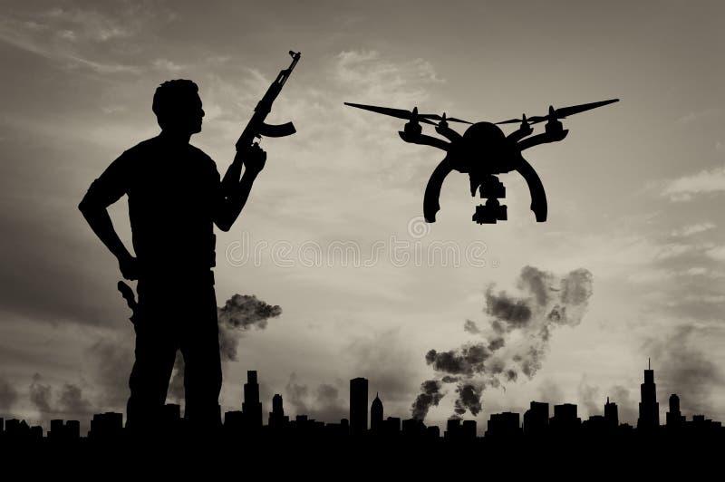 Surr för konturflygspaningar över stad i en rök och en terrorist stock illustrationer