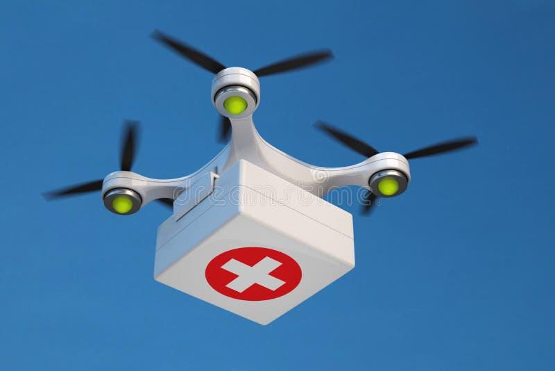 Surra den bärande första hjälpensatsen för quadcopter för snabb nöd- medicinsk vård royaltyfri foto