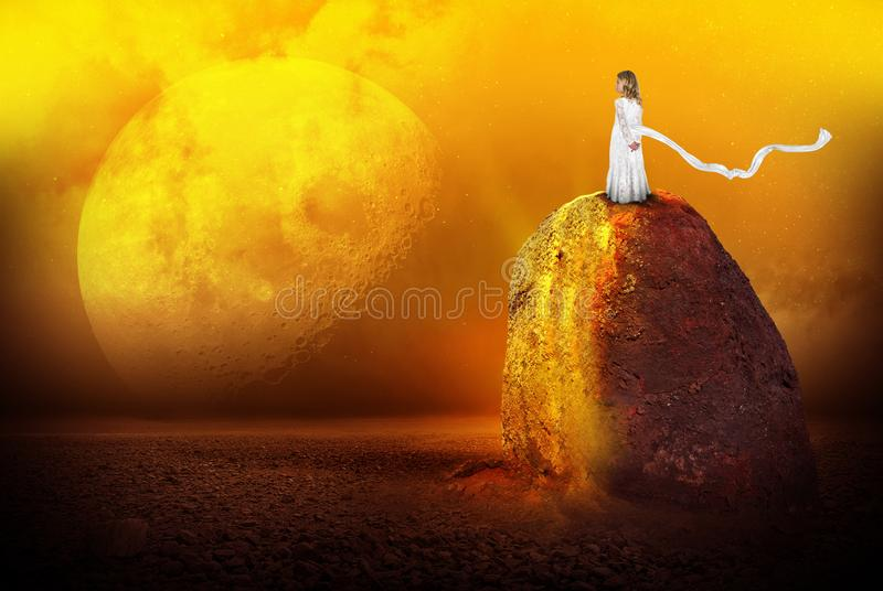 Surreal Alien Planet, Girl, Imagination, Science Fiction. A young girl uses her imagination to visit an alien planet. The child stands on a rock. Abstract stock images