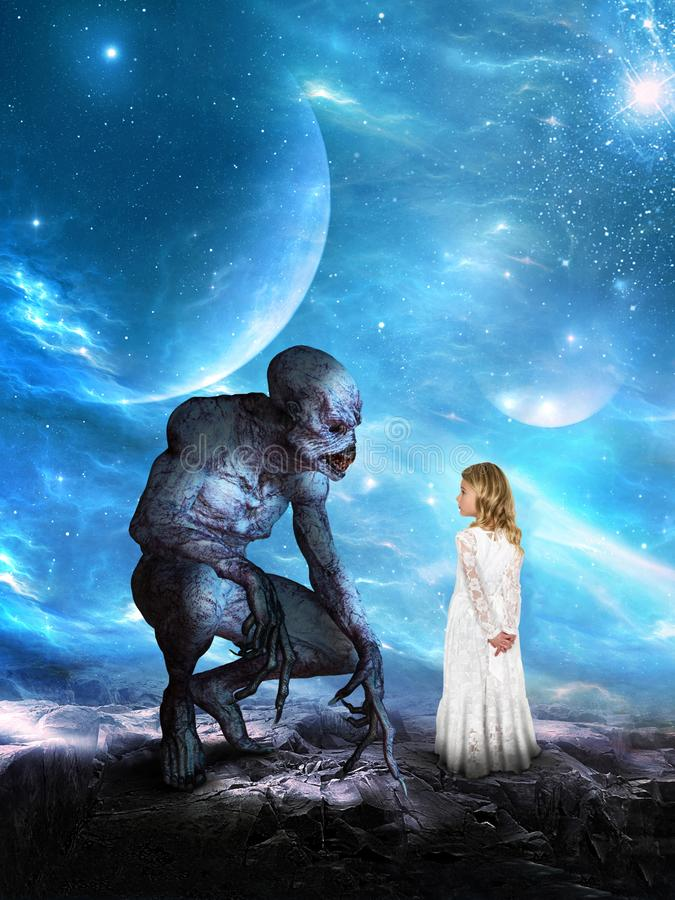 Surreal Alien Planet, Girl, Imagination. A young girl has a surreal imagination and fantasy dream of being on an alien planet with a creature from another world stock photography