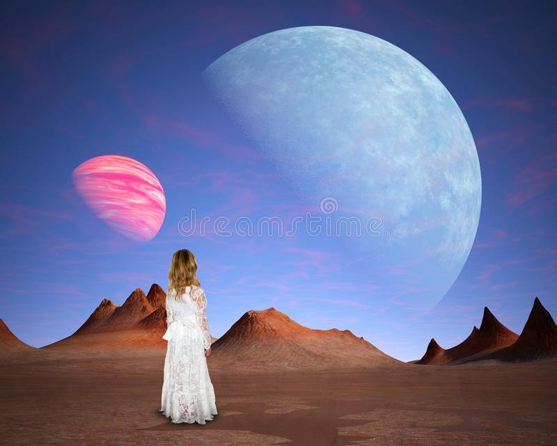 Surreal Alien Planet, Love, Hope, Peace. A young girl stands on the plains of an alien planet or world. Surreal abstract concept for love, peace, hope, and stock image