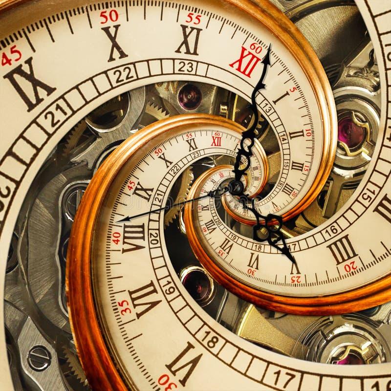 Surreal antieke oude klok abstracte fractal spiraal Horlogeklokken met fractal van de mechanisme ongebruikelijke abstracte textuu royalty-vrije stock afbeelding