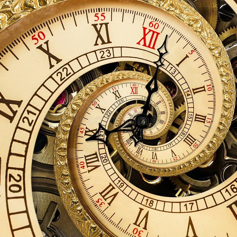 Surreal antique old clock abstract fractal spiral. Watch clocks with mechanism unusual abstract texture fractal pattern background. Old fashion clock roman stock images