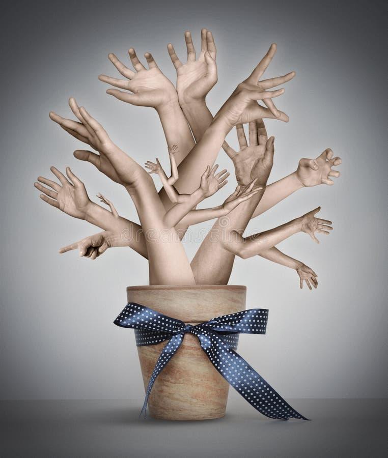 Surreal artistieke illustratie met hand-boom stock afbeeldingen