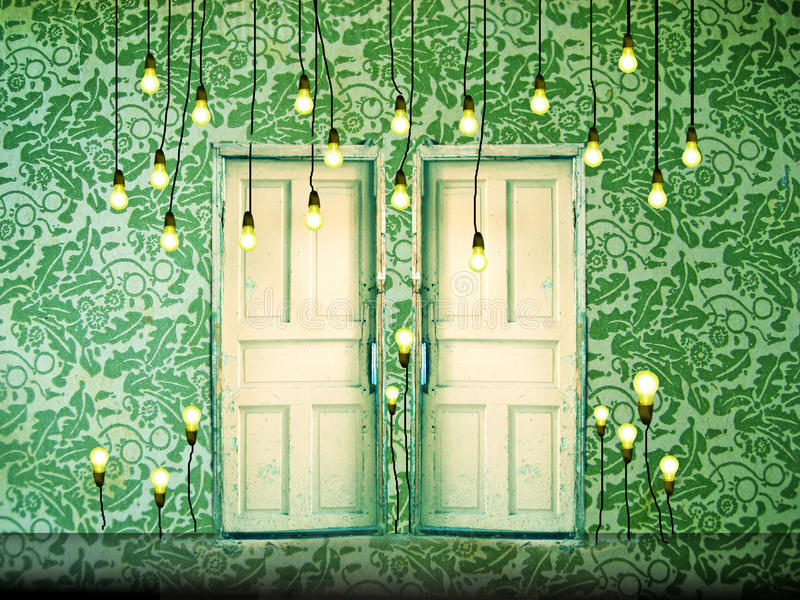 Surreal background with doors and liht bulbs stock images