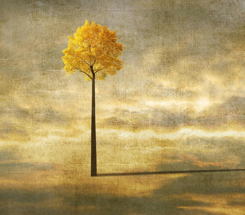 Surreal background with lonely tree vector illustration