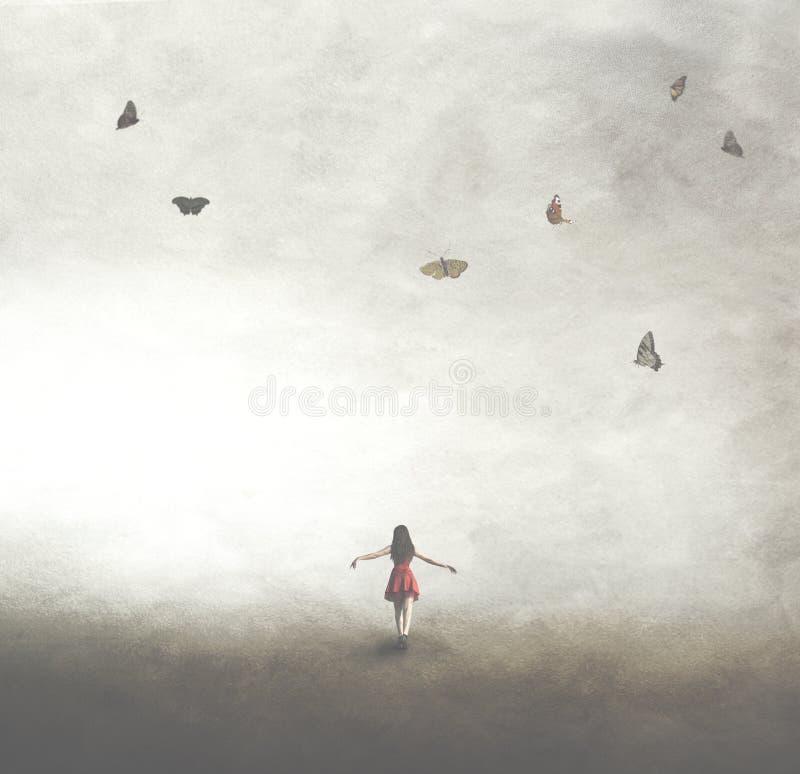 Surreal beeld van een vrouw in een rode kleding die onder een hemel met vlinders lopen stock afbeeldingen