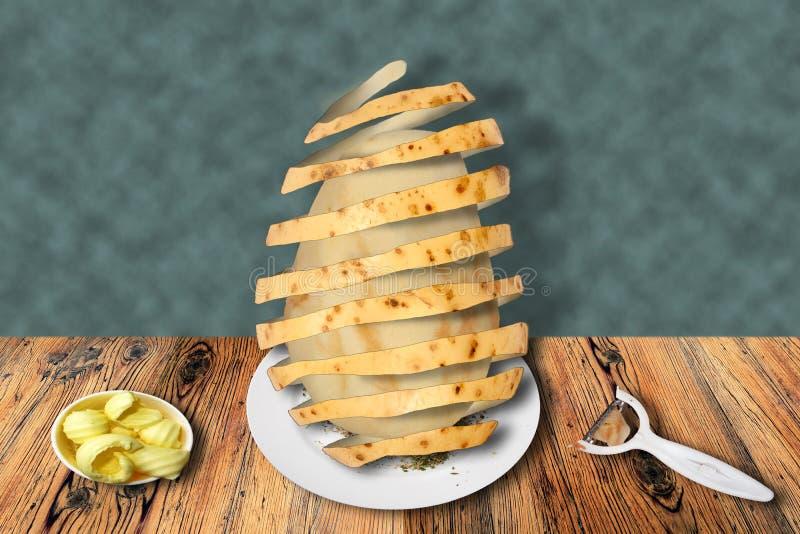 Surreal beeld van hoe te om een aardappel te pellen royalty-vrije stock afbeeldingen
