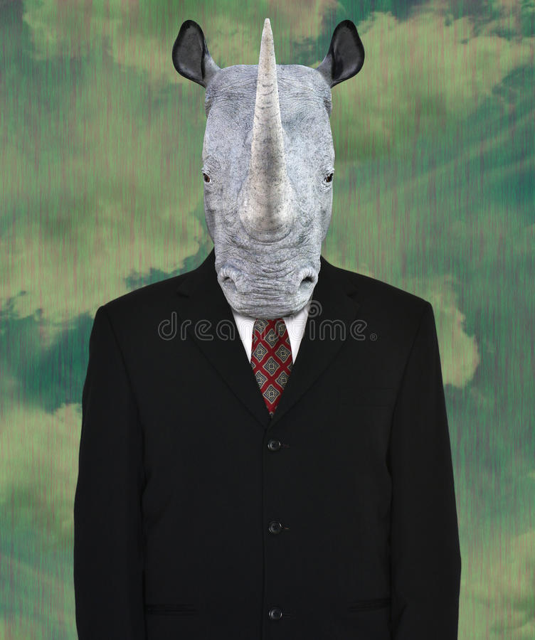 Surreal Business Suit, Wildlife Rhinoceros stock image