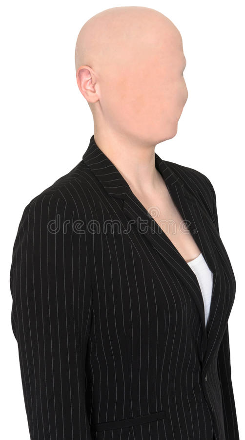 Surreal Business Woman, No Face, Bald royalty free stock photography