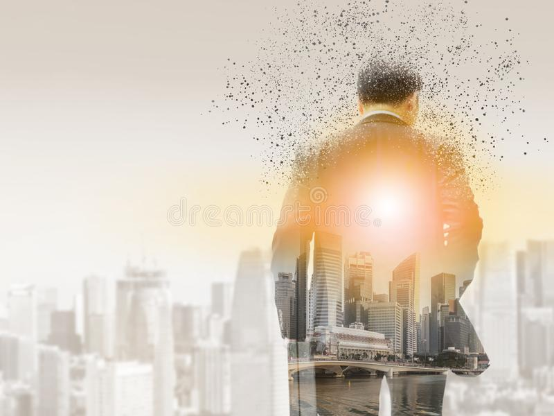 Surreal businessman in modern city royalty free stock images