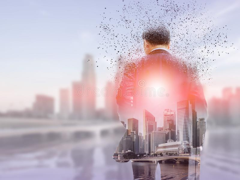 Surreal businessman in modern city stock photos