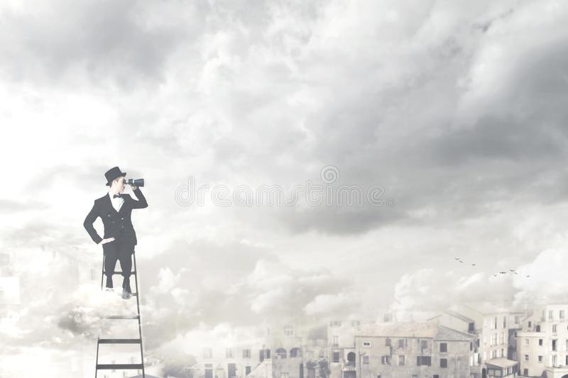 Surreal businessman observe with the telescope from the top of the city. A surreal businessman observe with the telescope from the top of the city stock images