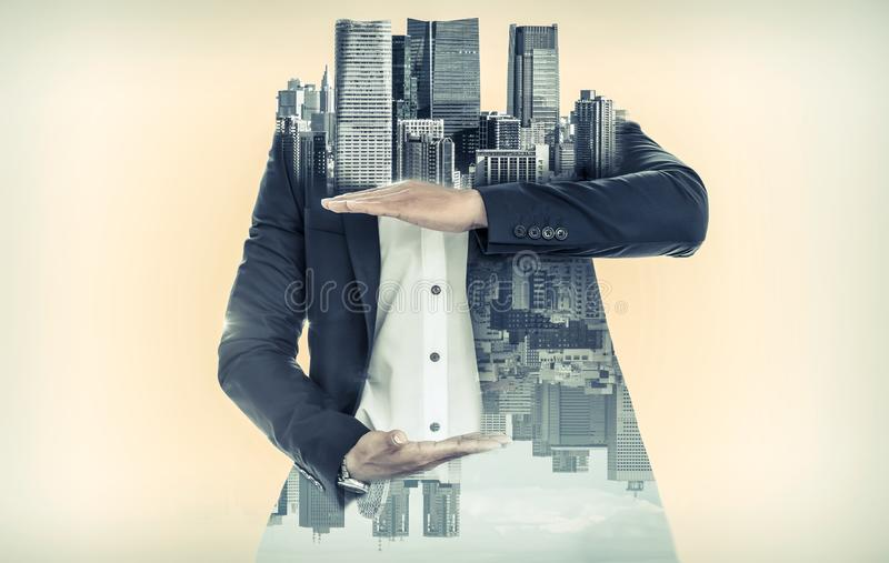 Surreal businessman open hand for your text stock photos