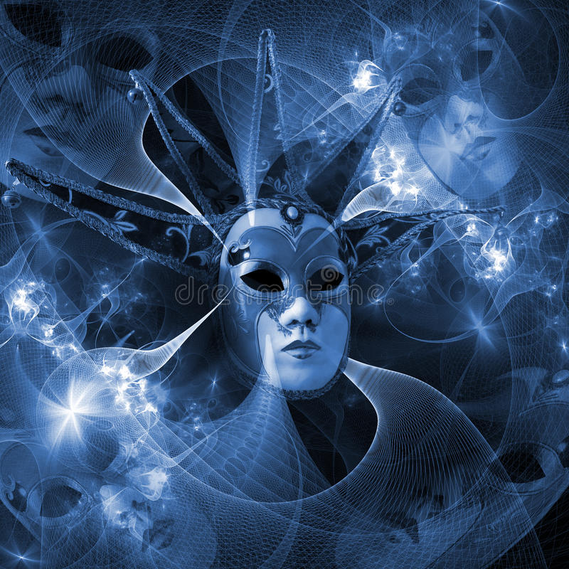 Surreal carnival mask and fractal pattern from a grid and bright vector illustration