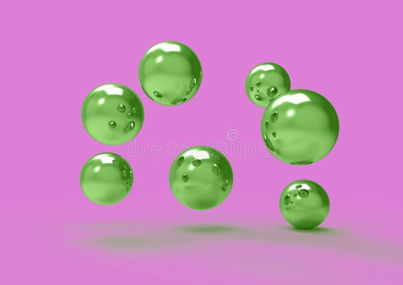 Surreal chroomballen in ruimte futuristisch 3D beeld worden verspreid dat royalty-vrije illustratie