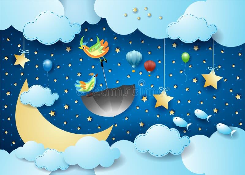 Surreal cloudscape 's nachts met maan, vliegende paraplu en vissen royalty-vrije illustratie