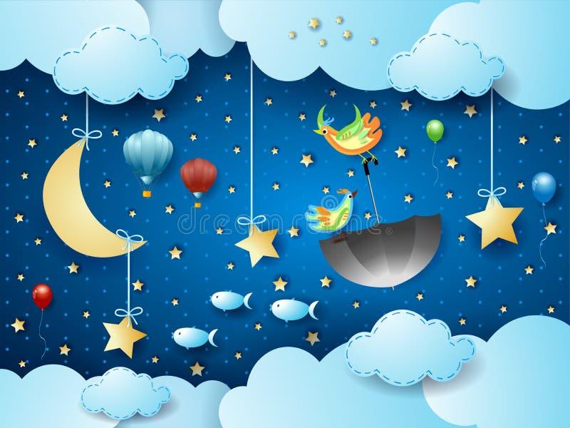 Surreal cloudscape 's nachts met vliegende paraplu en vissen vector illustratie