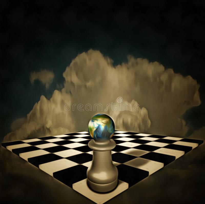 Game of life. Surreal composition. Chessboard and figure with planet Earth hovers in the sky stock illustration