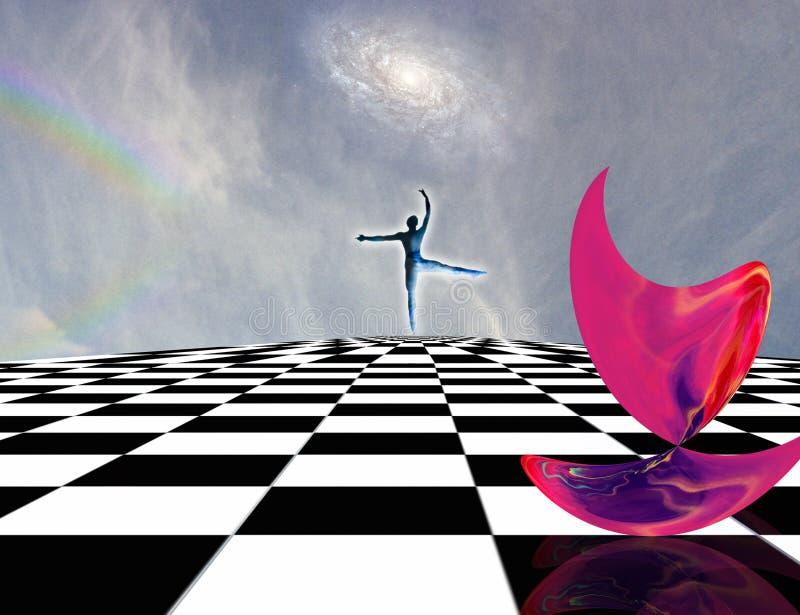 Pink Matter. Surreal composition. Pink matter and dancer on chessboard vector illustration