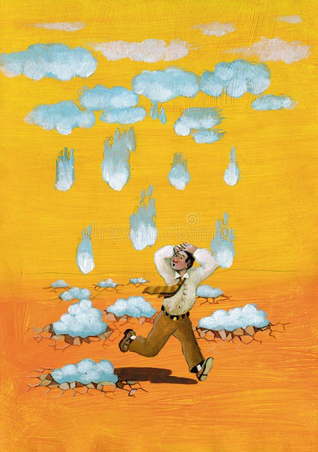 Falling sky. Surreal concept of fear man escape from falling sky metaphor of apocalypse and judgment day acrylic painting vector illustration