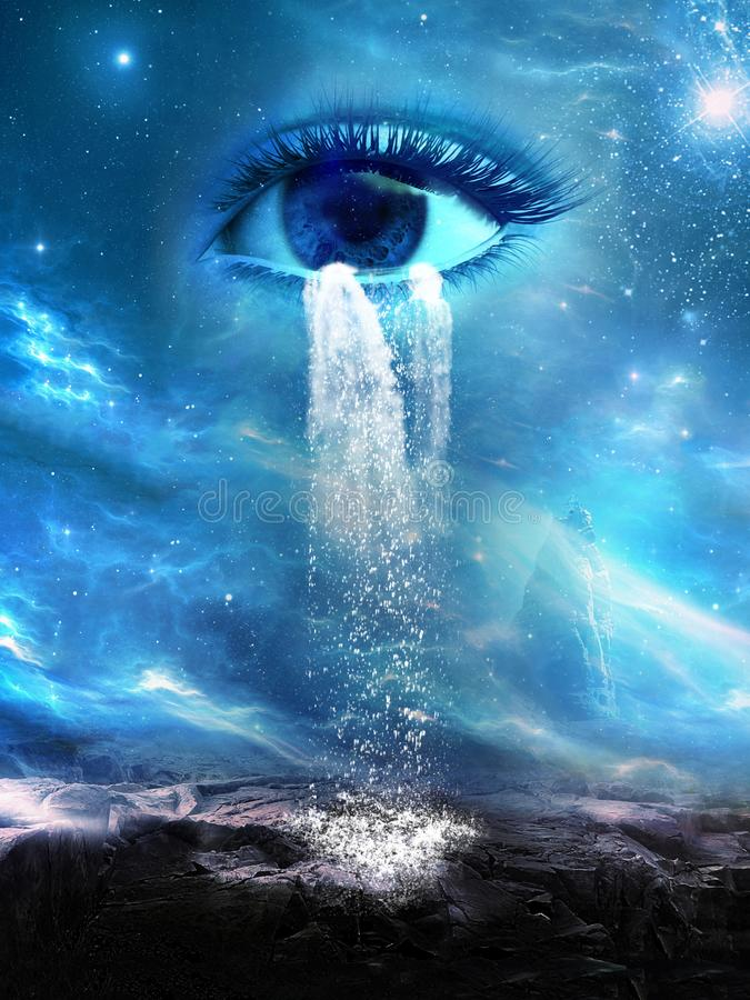 Surreal Cosmic Eye, Tears, Rain. A cosmic outer space eye cries tears of rain from the heavens and universe above. The science fiction fantasy background is an royalty free illustration