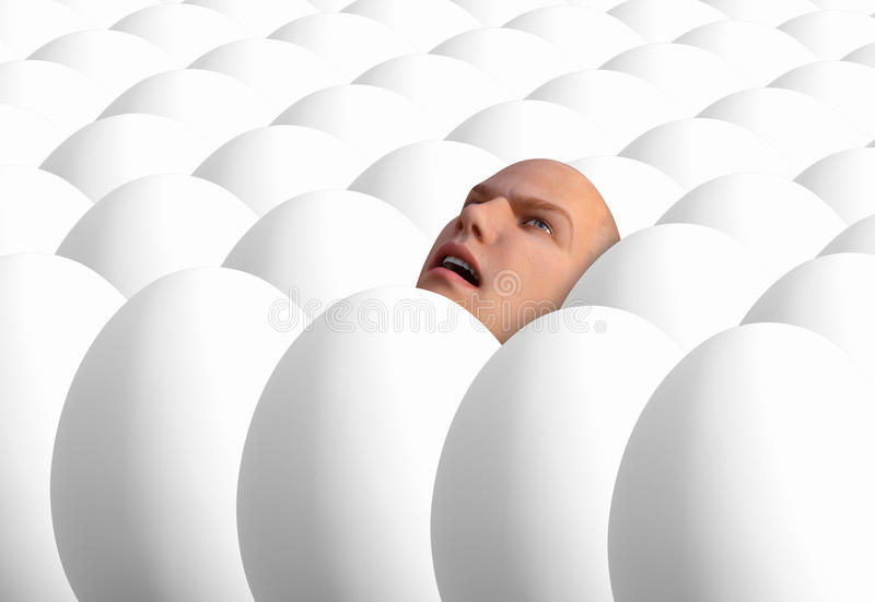 Surreal Crowd Human Face, Man. The head of a man rises from a crowd of eggs to make a surreal abstract concept. Can be used for depression, loneliness, sales