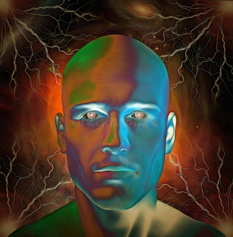 Man`s head with glowing eyes. Surreal digital art. Man`s head with glowing eyes. Galaxies and lightnings on a background. Human elements were created with 3D royalty free illustration