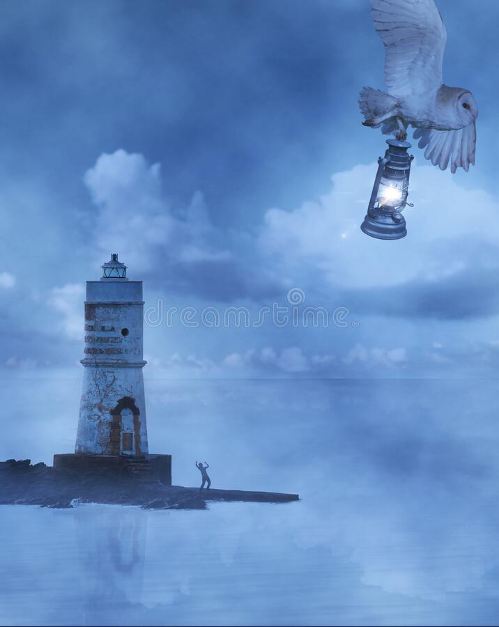 Surreal dreamy imaginary sea landscape whit lighthouse, evening cloudy sky where a white owl steal the light stock photography