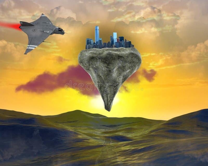 Surreal Drijvende Stad, Science fiction stock illustratie