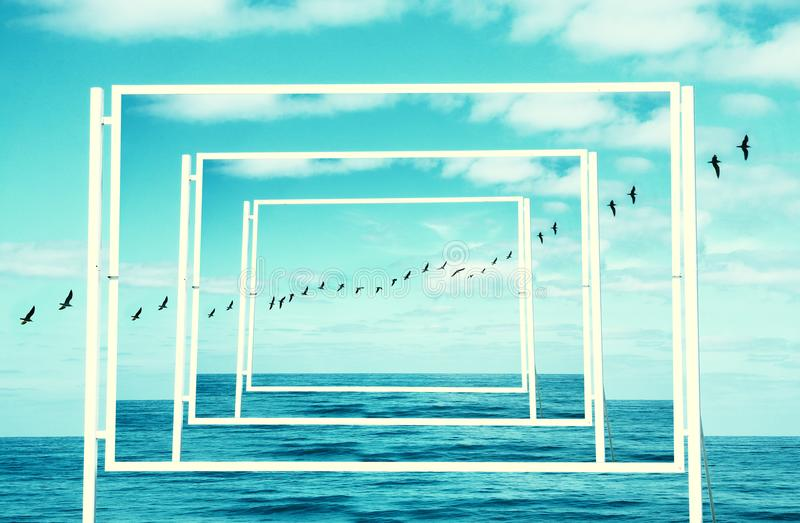 surreal enigmatic picture of flying birds and frame . beach landscape. royalty free stock photography