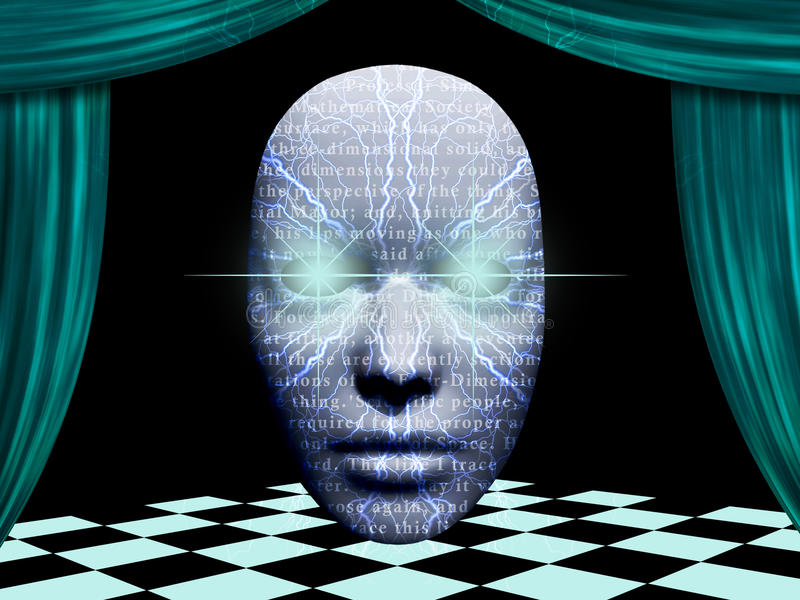 Download Surreal face with text stock illustration. Image of head - 22644456
