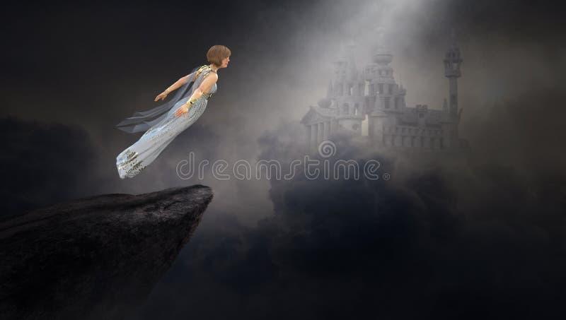 Surreal Fantasievrouw, Middeleeuws Kasteel stock illustratie