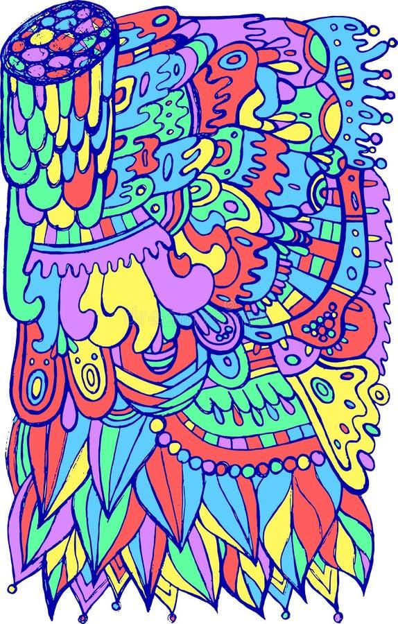 Surreal fantastisches Doodle-Muster Farbenfrohe, helle Karikatur der Volkskunst Böhmischer Stil und Hippie-Stil Psychedelische Ku stock abbildung