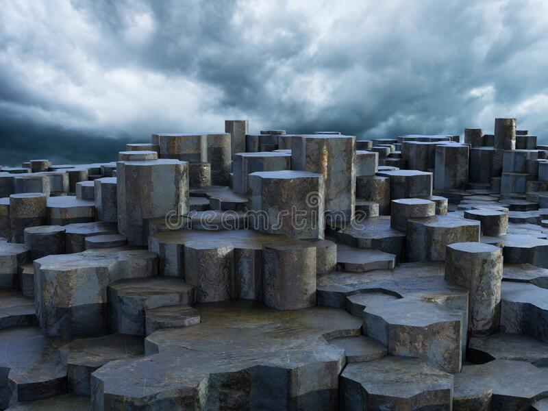 Surreal Fantasy Alien Landscape Background, Stone Formations royalty free stock photo