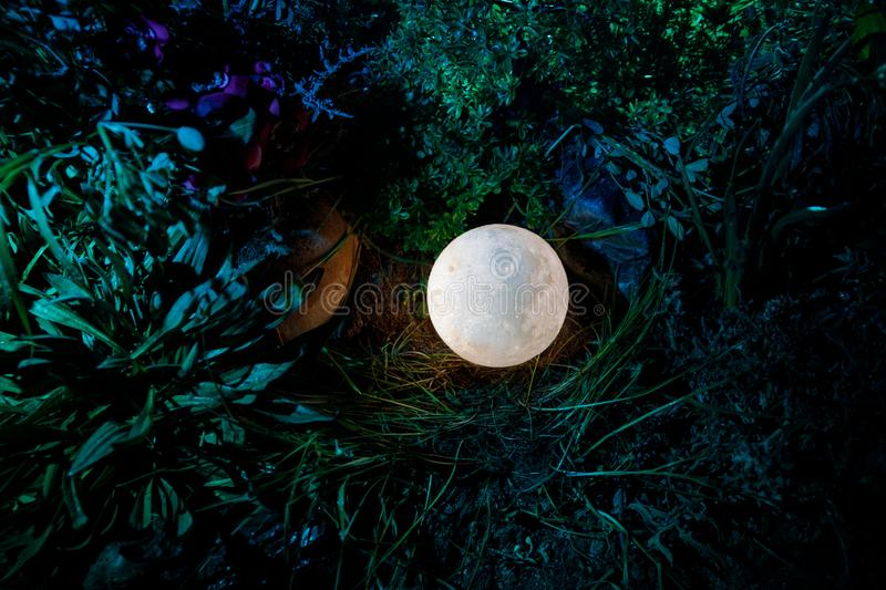 Surreal fantasy concept - full moon lying in grass. Decorated photo. Abstract fairy backgrounds . Selective focus royalty free stock photos