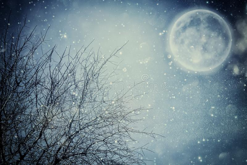 Surreal fantasy concept - full moon with stars glitter in night skies background. Surreal fantasy concept - full moon with stars glitter in night skies stock photo