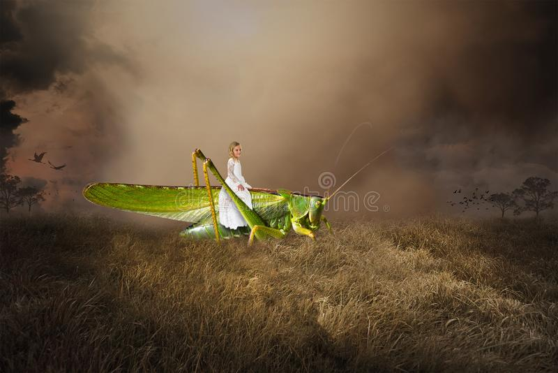 Surreal Fantasy Landscape, Grasshopper, Girl. A young girl is riding a green grasshopper in a surreal fantasy nature landscape. The child is using her stock illustration