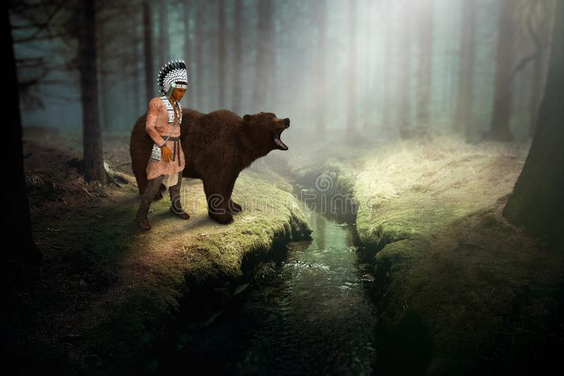 Native American Indian, Grizzly Bear, Nature, Wildlife stock illustration