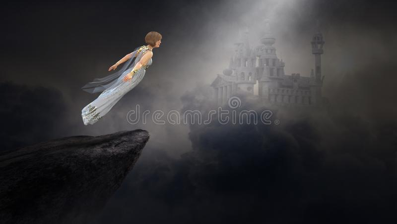 Surreal Fantasy Woman, Medieval Castle. A surreal woman floats above a cliff in a fantasy landscape with a medieval castle in the clouds. Abstract concept stock illustration