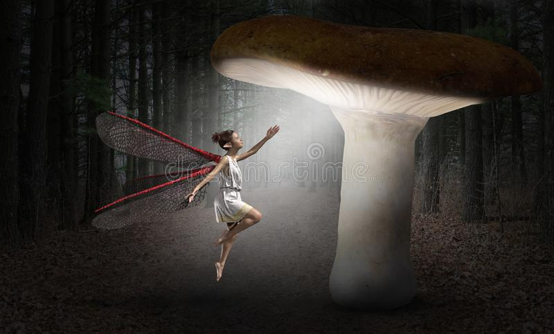Surreal Fee, Bos, Verbeelding, Fantasie stock illustratie