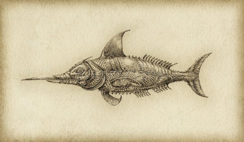 Surreal fish vector illustration